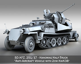 3D model SDKFZ 251 Ausf C - Hanomag Anti-aircraft vehicle