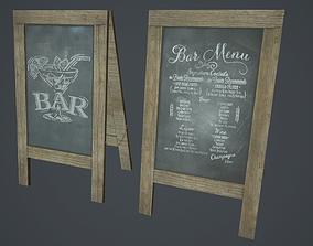 3D model A-Frame Chalkboard PBR Game Ready