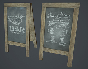 3D model A-Frame Chalkboard PBR Game Ready