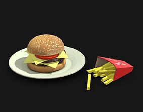 3D model Hamburger and Fries - Lowpoly
