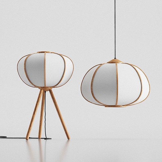 H&M Bamboo pendant light and Floor Lamp 3D model