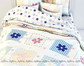 double 3D model Double Bed Bed Linen