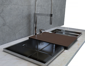 Sink Blanco Attika XL60 and 60-t and Faucet 3D model 2