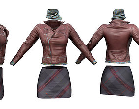 Brown Leather Jacket Scarf Skirt Outfit 3D model