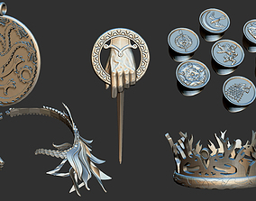 Game Of Thrones Collection Ring Necklace 3D print model 3