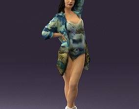 Woman in colored swimsuit long hair 0529 3D Print Ready