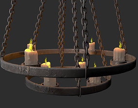 medieval chandelier 3D asset game-ready