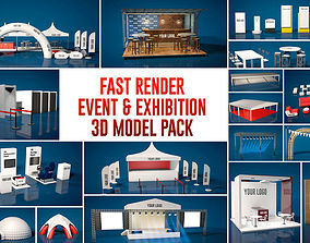Fast Render Event and Exhibition 3d Model Pack game-ready