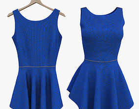 Blue Fitted Dress 3D model