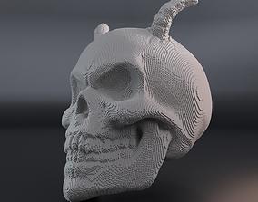 3D print model Voxel skull with horns
