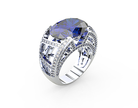 3D print model Ring with Blue Sapphire