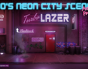 3D asset Low-Poly 80s Neon City Scene Pack