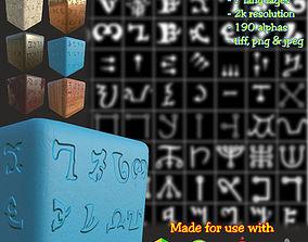 3D model Ancient Magical Scripts set Height map Alpha 1