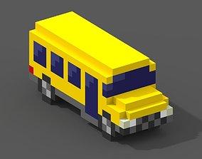 School Bus Voxel Model 3D asset low-poly