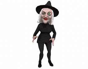 Cartoon witch rigged animated game ready 3D animated 1