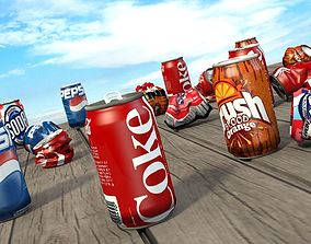 low-poly Soda Can Collection 3D model