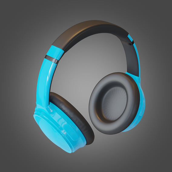 Headphone Blue Lowpoly Pbr Subdivision Ready