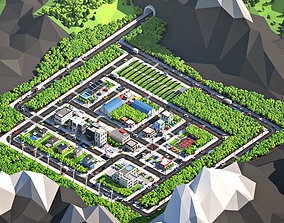 3D asset Cartoon Low Poly City Pack V2