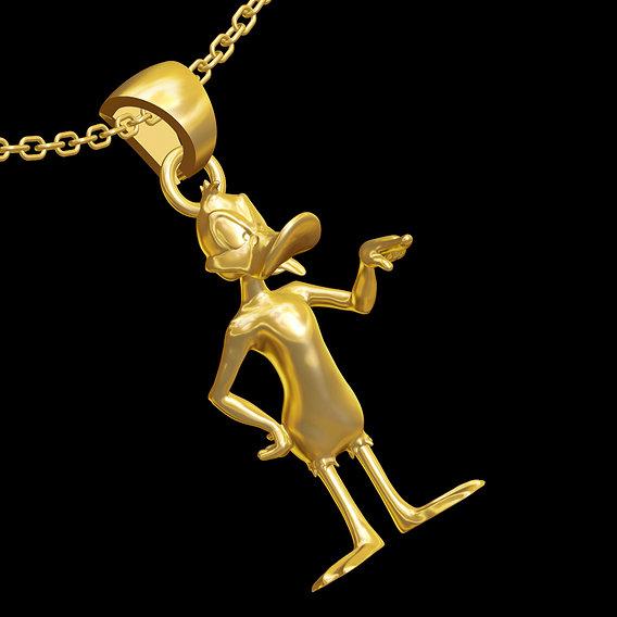 Daffy Duck Looney Tunes Cartoon pendant jewelry gold necklace 3D print model
