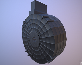 3D asset Round Drum Magazine - Weapon Attachment - PBR 2
