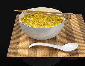3D model Rice Bowl over Bamboo Mat
