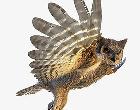 3D model Great Horned Owl - rigged - animated - PBR - 2