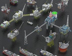 3D model Oil rigs platform and FPSO pack
