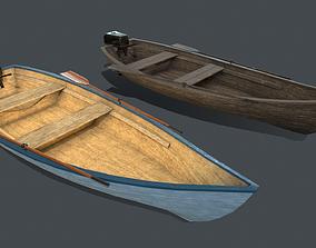 Wooden boat PBR 3D asset