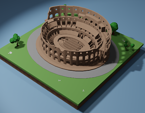 rigged game-ready Colosseum Low-poly 3D model
