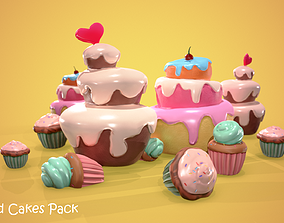 3D asset Stylized Cake pack - Delicious Cartoon Food