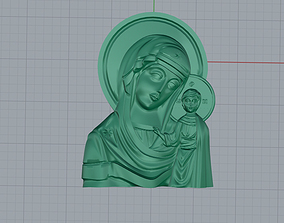 Mary with Child Medallion 3D print model medallion