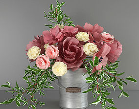Bouquet with peonies and ranunculus 3D model