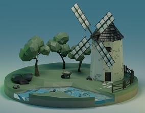 3D asset VR / AR ready Windmill - Lowpoly