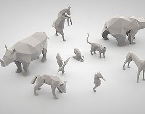 set of low poly animals 3D printable model