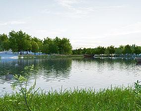 Wetland park landscape 03 3D model