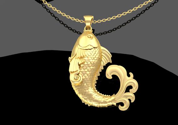 Sculpture Fish Pendant jewelry Gold 3D print model