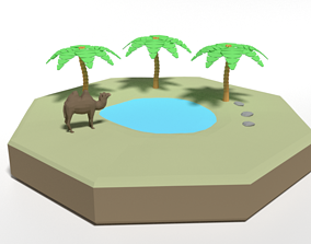 Low Poly Cartoon Oasis Scene 3D asset