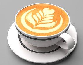 Mocha Coffee Cup Espresso Cappuccino Leaf Heart 3D asset