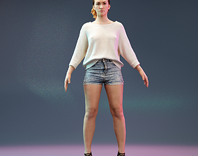 realtime A Pose Model in Jeans Short Heels and White