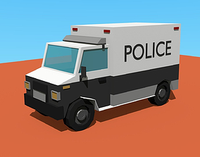 low poly police truck 3D model