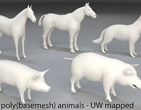 Animals-5 peaces-low poly-part 4 3D model