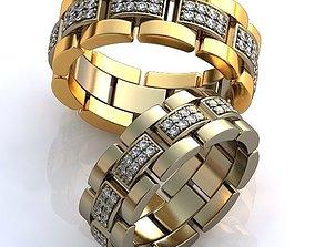diamond-ring Gold Metal Wedding Rings 3D model