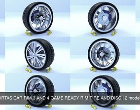 3D model ORTAS CAR RIM 3 AND 4 GAME READY RIM TIRE AND