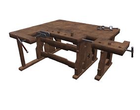 3D asset Old workbench