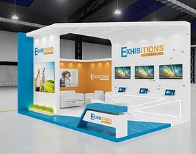 Exhibition stand 3d model 2 sides open stall elegant
