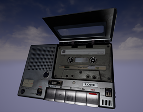 realtime Old Tape Recorder - PBR Low-poly 3D model