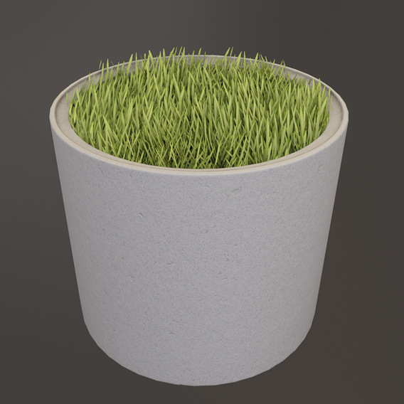 Concrete Pipe Pots with Grass 800mm