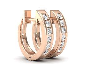 Diamond Huggies Hoop Earrings for woman 3D print model
