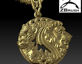 pendant lion and dragon 3D print model