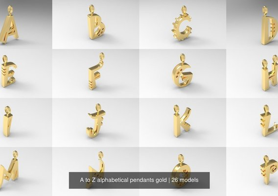 A to Z Alphabetical Pendants 24k Gold Collection